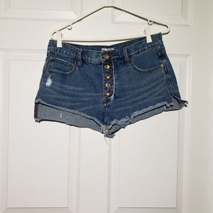 FREE PEOPLE distressed, button fly jean shorts